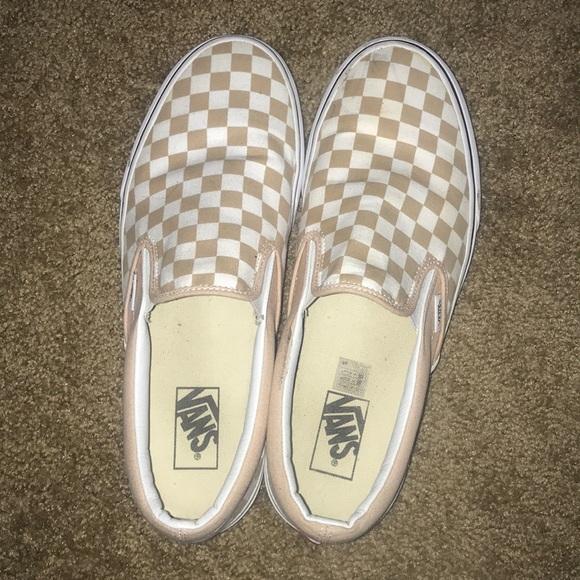 Vans Shoes | Nude Checkered Vans Slip